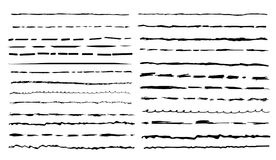 Set of black artistic pen brushes. Freehand drawing. Hand drawn grunge strokes. Vector illustration. Isolated on white background.  Royalty Free Stock Photos