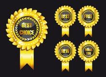 Set of black award labels Royalty Free Stock Photos
