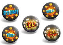 Set of black badges with text Stock Photos