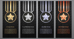 Set of black banner, Gold, platinum,silver and bronze star, Vect Stock Image