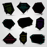 Set of black banners. Geometric grungy bubbles for websites or print design stock illustration