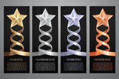 Set of black banners. Set of black banners, Gold, platinum,silver and bronze star, Vector illustration.l vector illustration