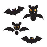 Set of black bats for halloween Stock Photos