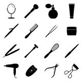 Set of black beauty icons, illustration Stock Image