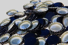 set of black beer caps isolated Royalty Free Stock Photography