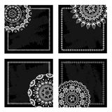 Set of black blank cards with half lace mandalas Stock Photos