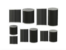 Set of Black blank tin cans in various sizes, clipping path incl Stock Image