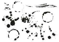 Set black blot splotch. Circular stain. Isolated on white vector illustration Royalty Free Stock Photo