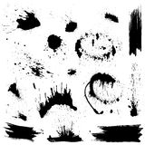 Set of black blots and ink splashes. Stock Photo