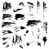 Set of black blots and ink splashes. Abstract elements Royalty Free Stock Image