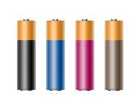 Set of Black Blue Cyan Pink Alkaline AA Batteries. Vector Set of Black Blue Cyan Magenta Pink Glossy Alkaline AA Batteries Of Diffrent Color for branding Close vector illustration