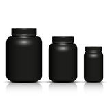 Set of black bottle package template. Vector illustration Stock Photo