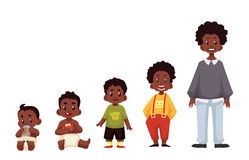 Set of black boys from newborn to infant toddler schoolboy. And teenager cartoon vector illustration isolated on white background. African child development Stock Images