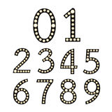 Set of Black Broadway Light Bulb Numbers Royalty Free Stock Photography