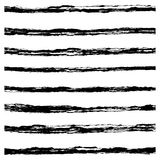 Set of Black brush strokes. Stock Photo
