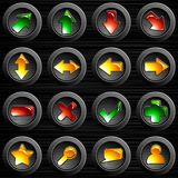 Set of black brushed steel buttons Stock Photography