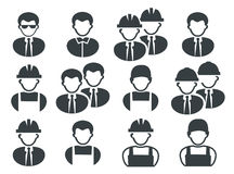 Set of black builder men icons Royalty Free Stock Photos