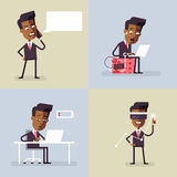 Set of with black businessman Vector Royalty Free Stock Photography