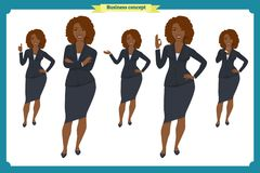 Set of Black Businesswoman character design.Front, side, back view animated character.Business girl character. Creation set with various views, poses and Royalty Free Stock Photos