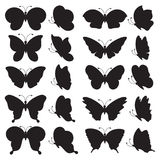 Set of black butterfly silhouettes. Royalty Free Stock Image