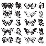 Set of black butterfly silhouettes. Royalty Free Stock Photo