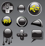 Set of black buttons Stock Image