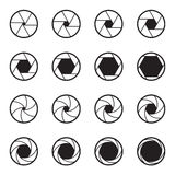 Set of black camera lens aperture icons isolated on a white background. Two ranges of various aperture sizes. Vector illustration Stock Images