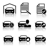 Set of vector car icons for buying a car in different order on a white isolated background Royalty Free Stock Photos