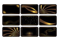Set of black cards. Vector. Set of cards, gold on the black. Business cards. Visiting cards. Invitations. Vector Stock Image