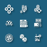 Set of black casino icons. Stock Photos