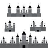 Set black castle on white background. Vector Stock Image