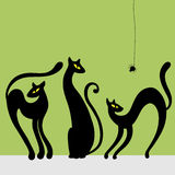Set of black cat silhouettes. Vector illustration royalty free illustration