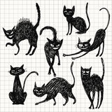 Set of black cats Royalty Free Stock Photos
