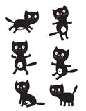 Set of black cats Stock Images