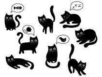 A set of black cats. A collection of cartoon cats for Halloween. Lovely playing black kittens. Vector illustration of Royalty Free Stock Photo