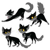 Set of black cats. Collection of cartoon cats for Halloween. Lovely playing black kittens. Vector illustration of pet. Pets. Logo Royalty Free Stock Images
