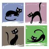 Set of black cats Stock Photo