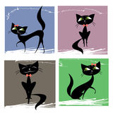 Set of black cats. Set of black cats, vector illustration Stock Image