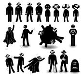 Set of black character in different situations with different emotions Stock Images