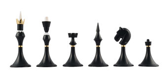 Set of black chess figures isolated Royalty Free Stock Image