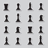 Set of black chess pieces stickers Stock Photography