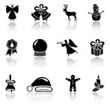 Set of black Christmas icons Royalty Free Stock Photos
