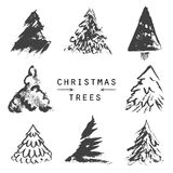 Set of black christmas trees. Hand drawn elements for holiday. Royalty Free Stock Images