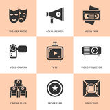 Set of black cinema movie icons. Vector cinema stuff in flat style Stock Photo