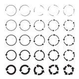 Set of black circle  arrows Royalty Free Stock Images