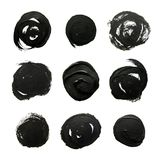 Set of black circles. Abstract gouache brush strokes. On a white background Royalty Free Stock Photos