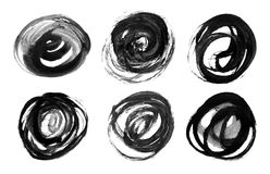 Abstract watercolor brush strokes. Set of black circles. Abstract watercolor brush strokes on a white background. Elements for design Stock Photos