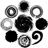 Set of black circles. brush stroke. Royalty Free Stock Photo