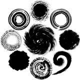Set of black circles. brush stroke. Royalty Free Stock Photo