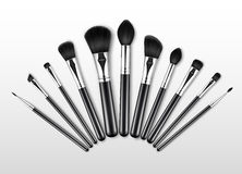 Set of Black Clean Professional Makeup Concealer Powder Blush Eye Shadow Brow Brushes with Black Handles. Vector Set of Black Clean Professional Makeup Concealer Royalty Free Stock Images